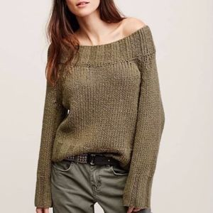 Free People Slouch Off the Shoulder Sweater Green